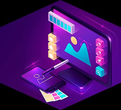 processo de um web designer gráfico de designs modernos